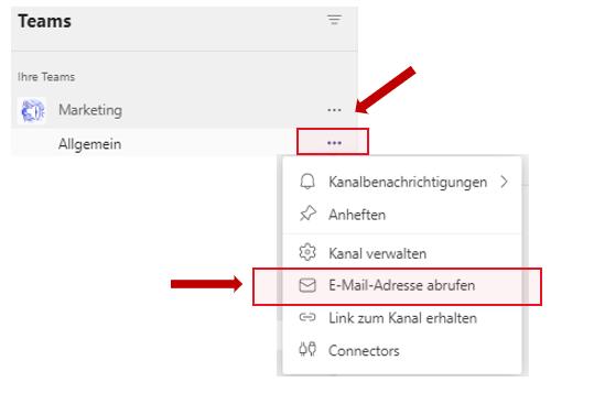 Abrufen der E-Mail Adresse eines Kanals
